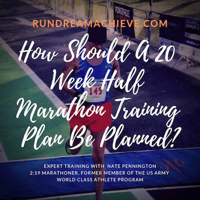20 week half marathon training plan  rundreamachieve